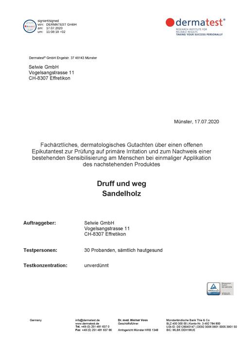 Dermatologisches Gutachten Druff und weg Sandelholz P1 - Zertifikate, Datenblätter & Downloads
