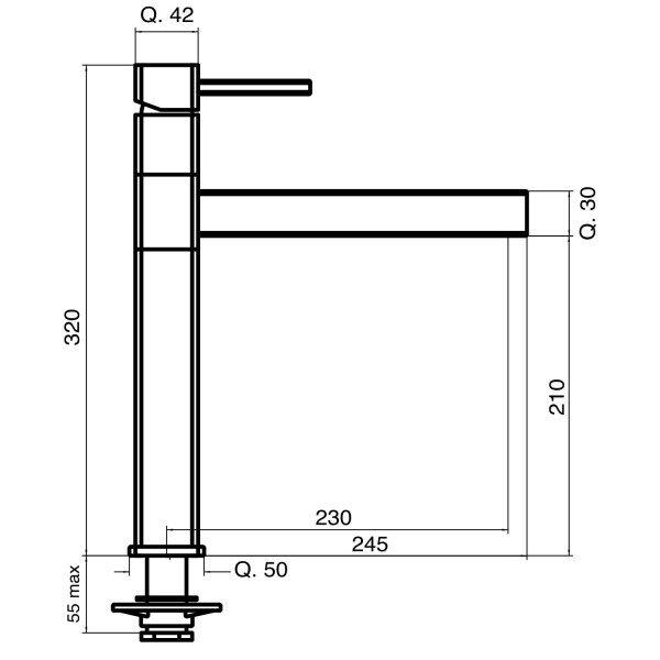 Designer 5-Wege-Wasserhahn STRATOS, Onyx