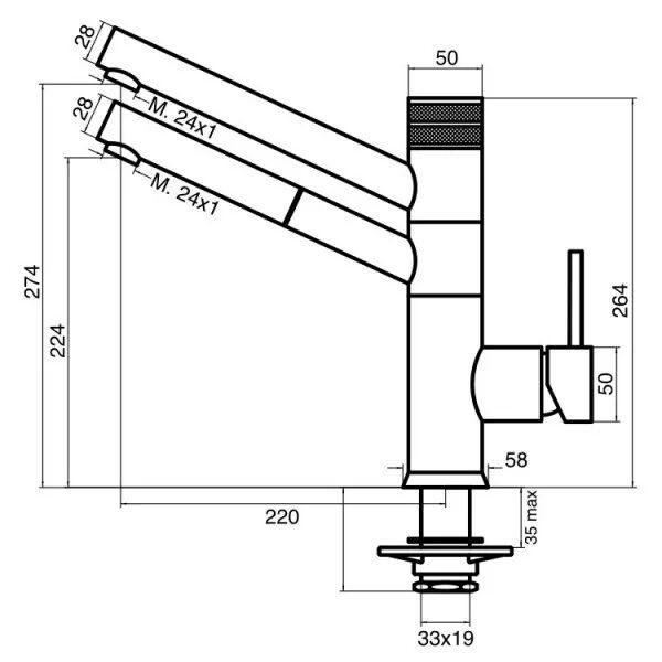 Designer 5-Wege-Wasserhahn mit ausziehbarer Brause CUCINA IDEALE