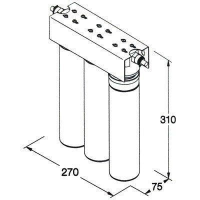 Filterkopfblock für 3  Filter inkl. Wandhalterung