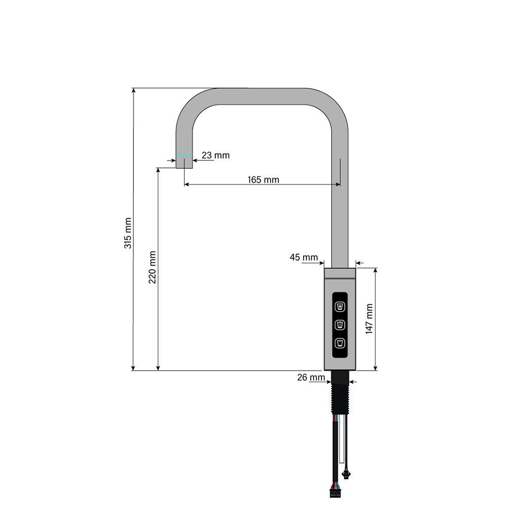 SPRUDELUX® BLACK & WHITE DIAMOND SERIE  Untertisch-Tafelwasseranlage Farbe WEISS