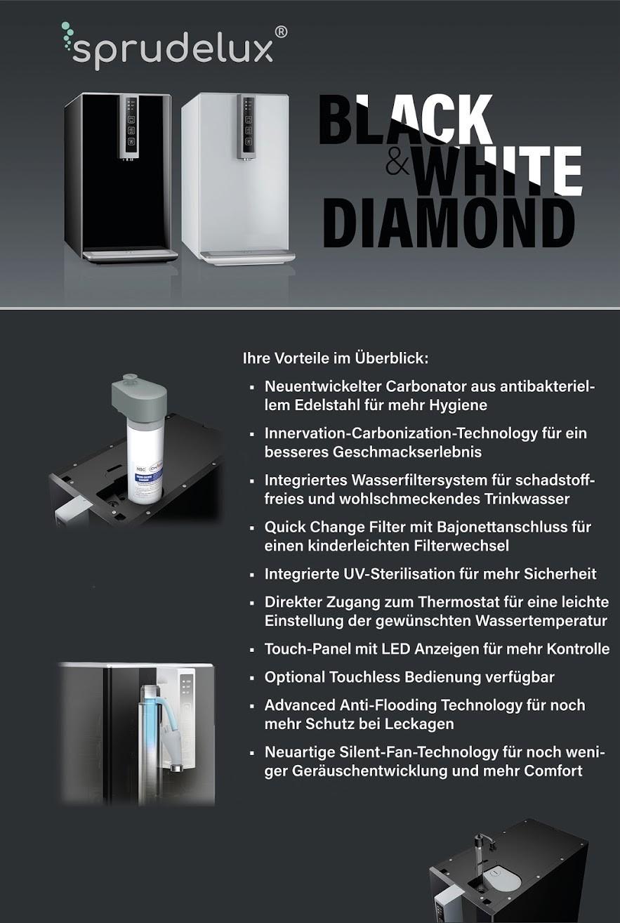 auftisch tafelwasseranlage sprudelux black amp white diamond hot edition - Auftisch-Tafelwasseranlage SPRUDELUX® BLACK & WHITE DIAMOND EDITION