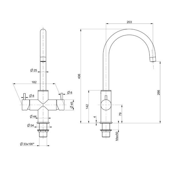 Designer 5-Wege-Wasserhahn CUCINA UNICA, Edelstahl massiv