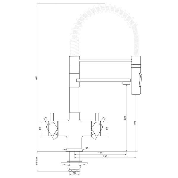 Designer Fünf-Wege-Wasserhahn mit Brause LUXURY ONYX