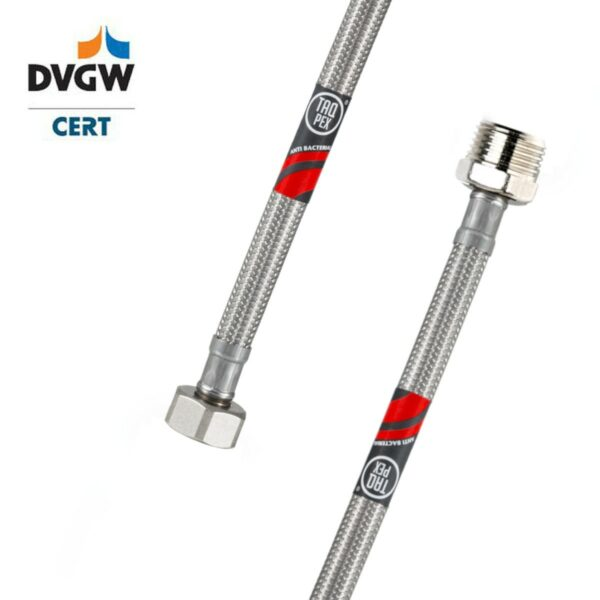 """DVGW geprüfter Flexschlauch 3/8"""" ÜM x 3/8"""" AG 500mm Wasseranschluss-Anschlussschlauch Verlängerung"""