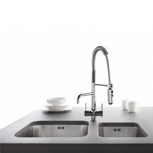 Designer Spiralfeder-Drei-Wege-Wasserhahn LUXURY, Chrom