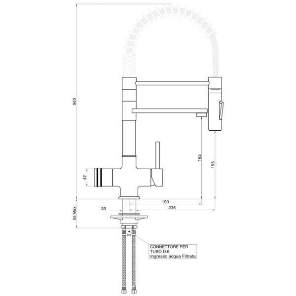 Designer Spiralfeder-3-Wege-Wasserhahn LUXURY PURE, Chrom